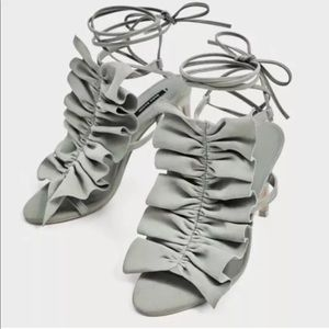 Zara Ruffled Lace Up Sandals in size 37